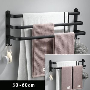 Towel Racks Rack Hanger Rail Wall Mounted Bathroom Space Aluminum Black Bar Matte Holder