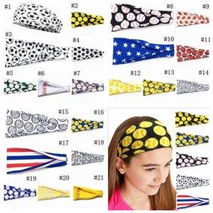 Girl Baseball Sports Hairband Sweat Headbands Yoga Fitness Scarf Sport Hairbow Softball Football Team Hair Bands JJA60