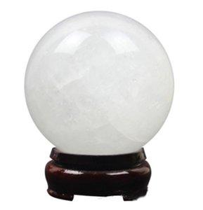 Natural White Calcite Sphere Ball Healing Quartz Crystal Gemstone Figurine with Stand ( 8 cm)