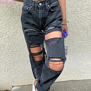 Jeans in vita alta donna 2021 buche da donna stile stile pantaloni moda strappato denim slim donne