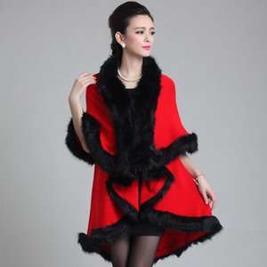 SC97 2020 Winter Warm Long Knitted 2 Layers Poncho Cape Blue Cashmere Loose Sweater Women Imitation Fur European Cardigan Coat1