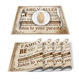 Table Runner 4 6pcs Family Rules Text Vintage Kitchen Placemat Set Dining Mats Cotton Linen Pad Bowl Cup Mat Home Decor