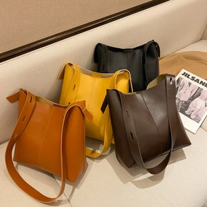 Women Large-capacity Bag Style Retro Bucket Bag Korean Version Wild Shoulder Messenger Crossbody Bag PU Leather