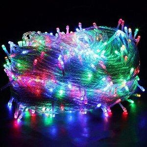 الصمام سلسلة أضواء اللون الصغيرة وامض الضوء في جميع أنحاء السماء نجوم الإضاءة في الهواء الطلق شريط الإضاءة الزفاف الديكور مصباح مهرجان مصابيح عيد الميلاد