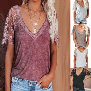 t-shirt 2021 female V-neck short feather lace sleeve loose blouse