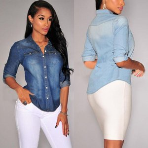 Fashion Formal Jeans Shirt Women Casual Long Sleeve Work Tops Denim Blouse Clothes Top Blusa Feminina Women's Blouses & Shirts