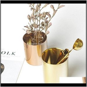 Vases Décor Home & Garden Drop Delivery 2021 400Ml Nordic Style Brass Gold Vase Stainless Steel Cup Cylinder Pen Holder For Desk Organizers W