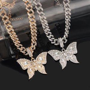 Cadenas Punk Cuban Link Chain Crystal Butterfly Collar para Mujeres Trendy Rhinestone Chunky Metal Party Jewlery