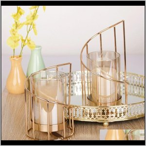 Holders Décor & Garden Drop Delivery 2021 Golden Iron Holder European Geometric Candlestick Romantic Crystal Candle Cup Home Table Decoration