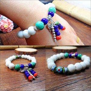 Beads Bractelet Jingdezhen Керамические Украшения Капля Груза Белый Нефритовый фарфор с подвеской