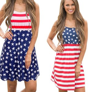 Ladies Stars Printing Dresses Beach Striped Mini Vintage Dresses American Flag Independence National Day USA 4th July Panelled Short Dress