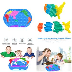 2021 Push Fidget Toys Rainbow Doigt Jouet pour enfants 30cm Grande Taille Carte du monde Rat tuer Puzzle Pioneer Puzzle