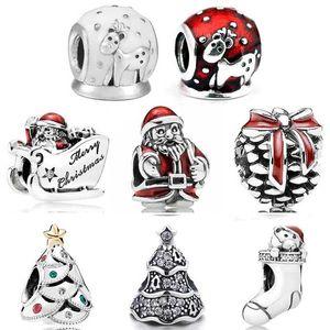 Christmas Festive Twinkling Tree Sleighing Santa Snow Globe Moose Stocking Beads Fit Europe Bracelet 925 Sterling Silver Charm