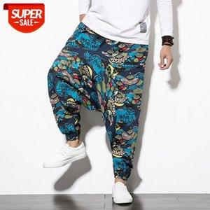 Hip hop printing joggers men japanese harem men's pants streetwear casual cross-pants women trousers #L48p