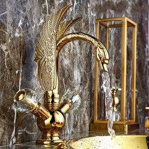 Retro Golden Basin Sink Faucet Crystal Widespread Brass Luxury Gold Chrome Swan Deck Mounted Double Handle Bathroom Tap Mixer