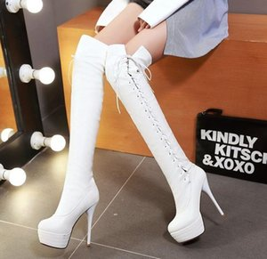 big size 33 to 45 46 white black lace up red bottom heel over the knee thigh high boots sexy platform thin heels
