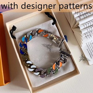 Colorful Titanium Steel Bracelet with Diamond Glossy Neutral Logo High Quality Personalized Chain Fashion Jewelry Supply
