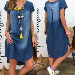 2021 Summer Dresses 2021 Denim es Women 2021 Distrsed Blue V-Neck Short Sleeve Mini Plus Size Irregular Vtidos