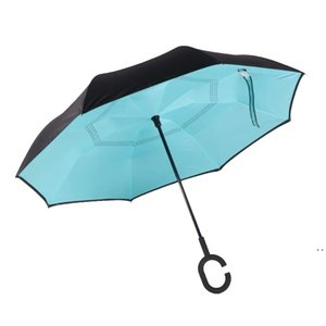 Windproof Reverse Folding Double Layer Inverted Chuva Umbrella women Self Stand Rain Protection C-Hook Hands HWE5684