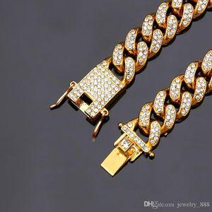 Mens Hip Hop Gold Bracelets Jewelry Iced Out Chain Bracelets Rose Gold Silver Miami Cuban Link Chain Bracelet