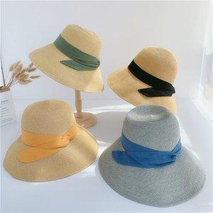 Straw Hat Female Summer Foldable Beach Sun Bow Fisherman Basin Bucket Wide Brim Hats