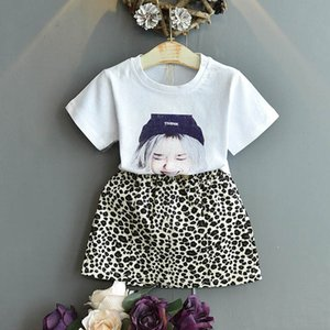 Clothing Sets Girls Suits Kids Children Outfits Leopard Fashion Summer Cotton Short Sleeve T Shirt Skirts 2Pcs Baby Clothes 2-6Y B4582