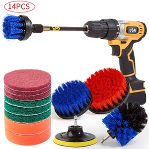 14Piece Drill Brush Attachments Set, Scrub Pads & Sponge, Power Scrubber Brush Cleaning Kit with Scrub Pads & Drill bit Extender 210329