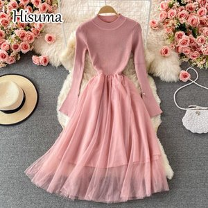 Casual Dresses 2021 Autumn Women's O-neck Long Sleeve Knitted Stitching Mesh A-line Dress Female Chic Elegant Waist Sweater