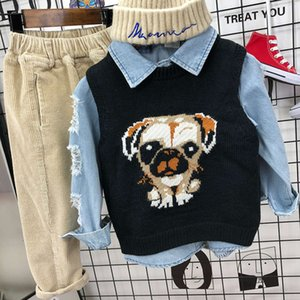 Boys' foreign style Plaid knitted 00002 children's 3-year-old baby Korean sweater vest fashionable pants 12300