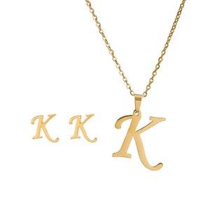 26 Buchstaben Halsketten mit Ohrring Set Edelstahl Gold Choker Anfang Anhänger Halskette Frauen Alphabet Ketten Schmuck 918 Q2