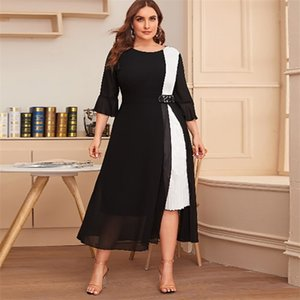 White And Black Contrast Color Elegant Dress Women Summer Three Quarter Sleeve Casual Dress Plus Size Maxi Long Dresses 210330