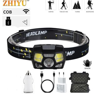 Portable Smart Sensor LED Headlight CoB 4 Mode White Red Light USB Rechargeable Outdoor Waterproof Strong Headlamps
