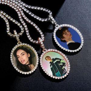 Oval PO Custom Pendant Necklace Medallions Cadena de tenis de cobre Dorado Cubic Zirconia Imagen Hombre Hip Hop Joyería Collares
