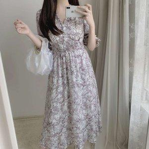 Daisy 2021 spring French temperament line flower V-neck high waist slim dress tea break skirt