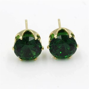 Stud Earrings Wholesale Fashion Round Favorite Design 18 K Gold Plated Studded Candy Crystals CZ Diamond Stud Earring For Women 22 N2