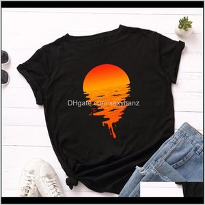 T-Shirt & Clothing Apparel Drop Delivery 2021 100Percent Cotton Plus Size S 5Xl Womens Print T Harajuku Summer Sunset Tees Shirt Femme Casual