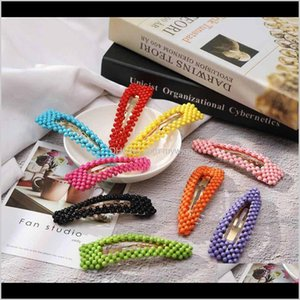 Rompers Fashion Girls Pearl Clips Cute Colorful Hairpins Classic Kids Beaded Barrettes Party Princess Hair Accessory Tta907 Ins Octyq 4Smyh