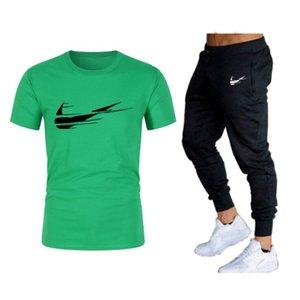 2021 Uomini Casual Tracksuit set felpa manica corta bianco t-shirt pantaloncini da jogging sport maschile jogging tuta sportiva estate streetwear di alta qualità