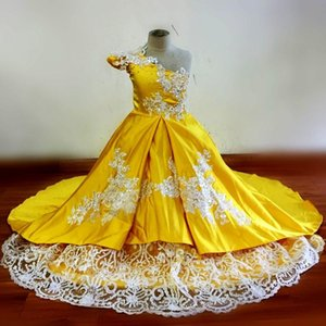 100% Real Images Yellow Girl's Pageant Dresses One Shoulder Sequins Beads Lace Satin Flower Girl Dresse Kids Birthday Gowns