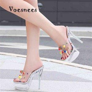 Прозрачная женская обувь летний римский стиль стилет водонепроницаемый платформа Super High Care14cm открытый цвет коловней заклепки сандалии 210415