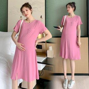 Robe de maternité Été mince coton modal Robe une ligne mince t-shirt vêtements pour femmes enceintes Grossesse Sleep Home Lounge Wear
