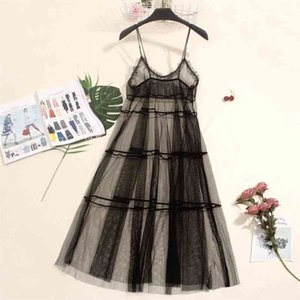 Autumn Long Summer Dress Women Mesh Dress Sexy Lace Spaghetti Strap Dresses Ladies Maxi Gauze Dress Sundress Vestidos A1024 210409