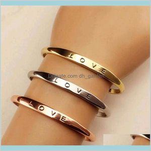 Fashion Men Women Screw Hand Love Wedding Cuff Bracelet Gold Silver Simple Letter Bracelets Gifts Kllnn Q7Y9C
