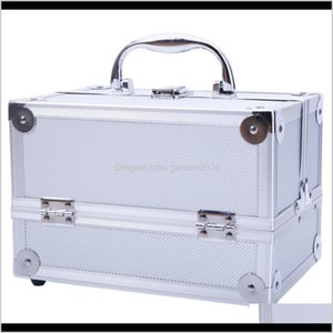 Storage Boxes Bins Aluminum Make Up Cosmetics Case Makeup Box Lockable Handle Cosmetic Train Jewelry Organizer Tray With Mirror R9Ina 5Qlsg