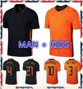 2021 2022 VAN DE BEEK Futebol Jerseys de Jong Wijnaldum Holland Kits de Futebol Camisa Van Dijk Jersey 20 21 Stootman Memphis Promes Pé