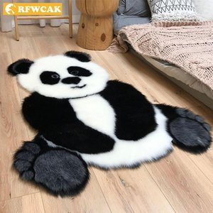Carpets Panda Pattern Shaggy Carpet Imitation Leather Fur Rug Animal Shape Area For Living Room Mat Tapete Kids Decor