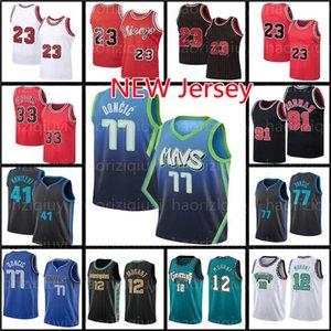 77 Luka 12 JA Morant Doncic 23 MJ Jersey Basketball 33 Scottie Pippen Dennis Rodman Dirk Kristaps Nowitzki Porzingis Trikots Dalla Jackson mens