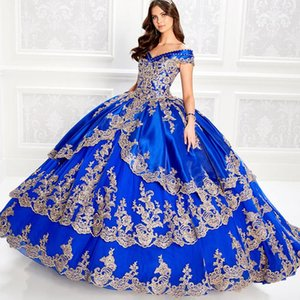 Off the Shoulder Royal Blue Quinceanera Dresses With Gold Appliqued Ball Gowns Prom Dress Lace-up Sweet 16 Years vestidos de años 2021
