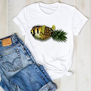 Women's T-Shirt Women Top Pineapple Fish Cute Funny Beach Print Ladies Summer T Tee Tshirt Womens Female Shirt Clothes Graphic