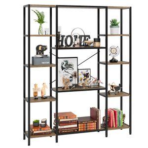5 Tier Bookcase Triple Wide Living Room Furniture Industrial Bookshelf, Open Storage Rack, Large Shelf for Bathroom Kitchen, Walnut Brown and Black